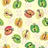 Äpplen på sömlös modell för blom- bakgrund royaltyfri illustrationer