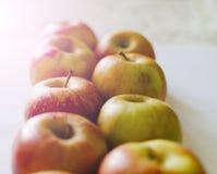 Äpplen på tabellen Royaltyfria Bilder