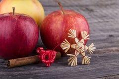 Äpplen, stjärnor från sugrör och kanel Royaltyfri Foto