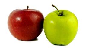 äpplen två Rött och grönt Royaltyfri Foto