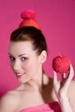 äpplet äter mellanmål klokt Fotografering för Bildbyråer
