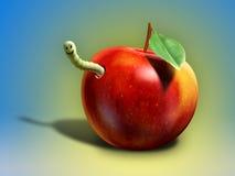 äpplet avmaskar Royaltyfri Fotografi