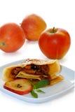 äpplet caramellized kräppar Royaltyfria Bilder