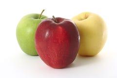 äpplet färgade tre Royaltyfri Fotografi