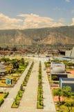 Äquator-Linie Vogelperspektive in Südamerika stockbild