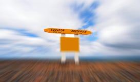 Äquator zum Südpol-Zeichen lizenzfreies stockbild