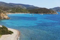 Är Canaleddus och Mari Pintau stränder i Sardinia arkivfoton