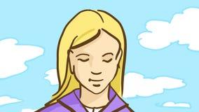 Är den blonda flickan för tecknade filmen utomhus- i vårdag med blå himmel, och vit fördunklar Fotografering för Bildbyråer