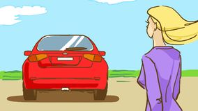 Är den blonda kvinnan för tecknade filmen och en bil utomhus- Royaltyfria Foton
