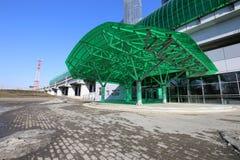 Är den centrala cirkeln för Moskva, 54 järnväg för orbital 4-kilometre-long Ryssland Öppnat 10 September 2016 Delovoy Tsentr järn Royaltyfria Foton