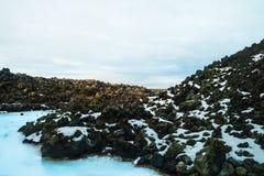 Är den geotermiska brunnsorten för den blåa lagun i Island, den blåa lagun famouen Royaltyfri Foto