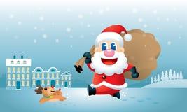 ?r den gulliga jultomten och hans ren upptagna ?verf?ring julklappar vektor illustrationer