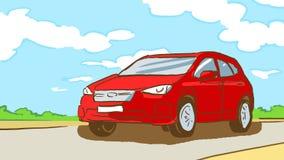 Är den röda bilen för tecknade filmen på landsvägen i sommardag med blå himmel och vita moln, sidosikt Arkivfoto