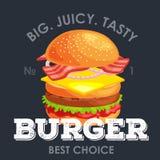 Är den smakliga hamburgaren grillat nötkött och nya grönsaker som kläs med sås i bullen för mellanmålet eller lunch, hamburgare k royaltyfri illustrationer