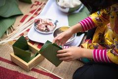 Är den traditionella klänningen Ao Dai som för barnkläder lär att göra Chung att baka ihop vid händer closeupen, den Chung kakan, Royaltyfri Bild
