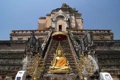 Är det berömda stället för den Wat Jedi Luang templet den stora pagoden och den forntida templet i Chiang Mai, Thailand arkivbild