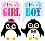 Är det ett flicka- eller pojketema 3 stock illustrationer