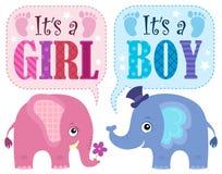 Är det ett flicka- eller pojketema 1 stock illustrationer