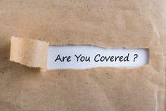 ÄR DU DET TÄCKTE frågemeddelandet som visas bak rivit sönder brunt papper Är reser du som försäkras för din bil, hem-, hälsa Royaltyfri Bild