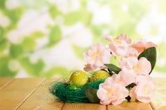 Är förgrena sig olika påskägg i rede och med blommor Arkivbilder