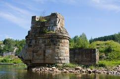 Är gammal byggnad för tegelsten i vatten Royaltyfri Foto