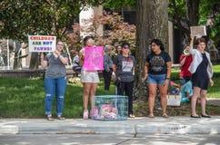 7-2-2019 är Tulsa USA - personer som protesterar på parkera med tecken, och dockor i bur-barn är inte pantsätter - denna vad den  royaltyfri bild