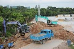 Är upptaget maskineri på konstruktionsplatser i SHENZHEN Arkivbild