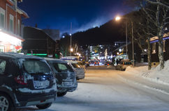 Är vintern för den huvudsakliga gatan Royaltyfria Foton