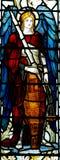 Ärkeängel Michael i målat glass Arkivfoton