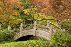 Ärke- bro i en japansk trädgård arkivbilder
