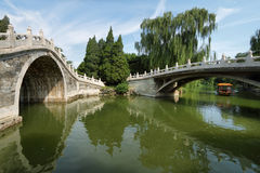 Ärke- bro i sommarslott Arkivfoton