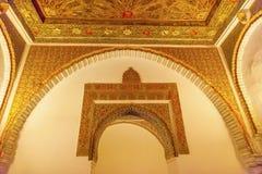 Ärke- mosaisk ambassadörRoom Alcazar Royal slott Seville Spanien fotografering för bildbyråer