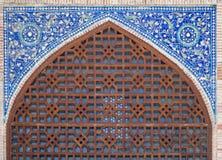 Ärke- portal av den Kok Gumbaz moskén, Uzbekistan Royaltyfri Fotografi