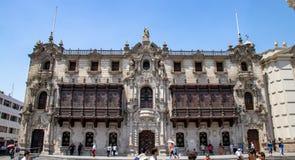 Ärkebiskopens slott i Lima royaltyfri foto