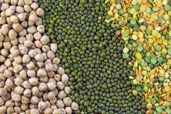 Ärtor, linser, mung bönor och kikärtar Royaltyfri Fotografi