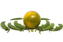 Ärtor och apelsin Fotografering för Bildbyråer