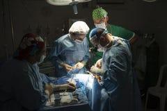Ärzteteam, das chirurgische Operation im hellen modernen Operationsraum durchführt stockbild