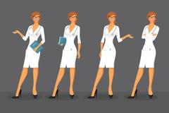 Ärztin in den verschiedenen Haltungen Stockbild