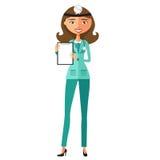 Ärztin, die ein Karikatur-Vektor illustra des Klemmbrettes flaches hält Lizenzfreies Stockfoto