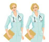 Ärztin im formalen Kleid mit unterschiedlicher Frisur Lizenzfreie Stockfotografie