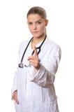 Ärztin mit dem moralischen Zeigefinger Stockbild