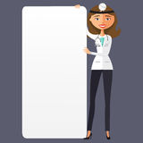 Ärztin mit einem Karikaturvektor illus der leeren Darstellung flachen Stockbilder