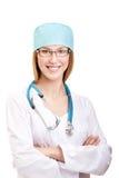 Ärztin Standing mit Stethoskop Stockbild