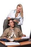 Ärztin und deprimierter Geschäftsmann Lizenzfreies Stockbild