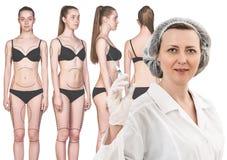 Ärztin und Frau mit Pfeilen auf ihrem Körper Lizenzfreie Stockbilder