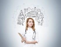 Ärztin und medizinische Ikonen des Schwarzen Lizenzfreies Stockbild