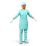 Ärztinganzaufnahme auf weißer Illustration 3D Lizenzfreie Stockfotografie