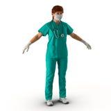 Ärztinganzaufnahme auf weißer Illustration 3D Stockbild