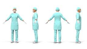 Ärztinganzaufnahme auf weißer Illustration 3D Stockbilder