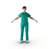 Ärztinganzaufnahme auf weißer Illustration 3D Lizenzfreies Stockfoto